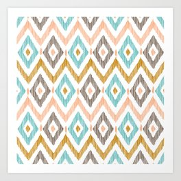 Sketchy Diamond IKAT Art Print