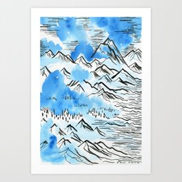The Pyrenees as they appeared to me... Art Print