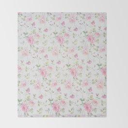 Elegant blush pink white vintage rose floral Throw Blanket