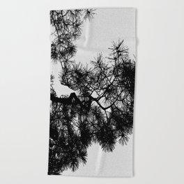 Pine Tree Black & White Beach Towel