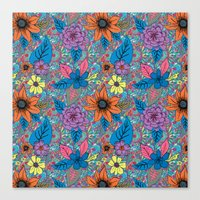 70s Canvas Prints featuring 70s floral by Lara Gurney
