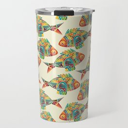 Abstract Geometric Fish Pattern Travel Mug