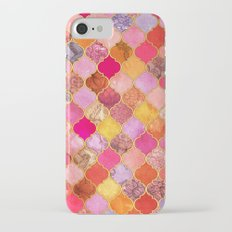 Hot Pink, Gold, Tangerine & Taupe Decorative Moroccan Tile Pattern Slim Case iPhone 7