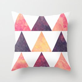 Orange & Purple Digital Watercolor Triangles Throw Pillow