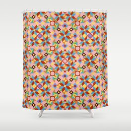 Pink Patchwork Quilt (printed) Shower Curtain