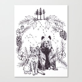 Wolf and Bear United Canvas Print