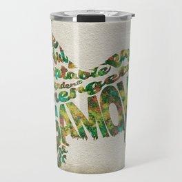 Samoyed Dog Typography Art / Watercolor Painting Travel Mug