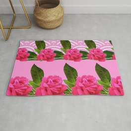 CERISE PINK GARDEN ROSES PATTERN ABSTRACT ART Rug