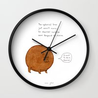 stickers Wall Clocks featuring the spherical bear by Marc Johns