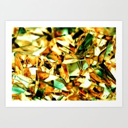 Golden and Green Chrystal Glass Abstract Art Print