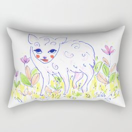 Curly Baby Deer Rectangular Pillow