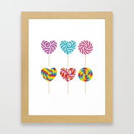 lollipops, colorful spiral candy cane with twisted design Framed Art Print