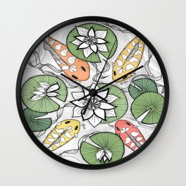 Koi Pond Gathering Wall Clock