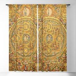 Buddhist Gold Avalokiteshvara Mandala Thangka Blackout Curtain