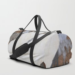 rusty orange wall with poster shreds Duffle Bag