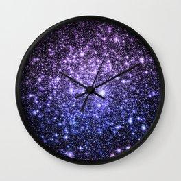Galaxy Sparkle Stars Purple Periwinkle Blue Wall Clock