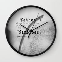 scripture Wall Clocks featuring Adoption Scripture Art Psalm 68:5-6 by KimberosePhotography