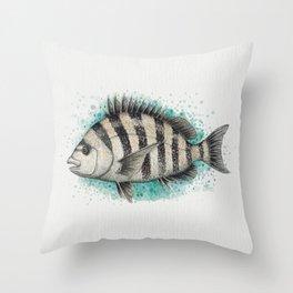 """Sheepshead Splash"" by Amber Marine ~ Watercolor Fish Painting (Copyright 2016) Throw Pillow"