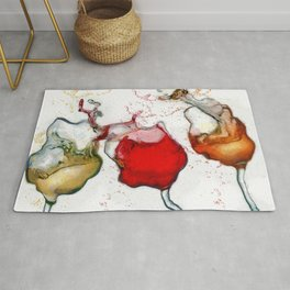 Colorful Wiggly Wobbly Wine Paintings by Drunk Girl Art Rug