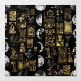 Beautiful Tarot Print with Raven and Moon Canvas Print