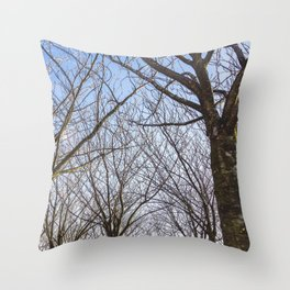 Sloped Lawn & Japanese Cherry Trees Throw Pillow