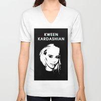 kardashian V-neck T-shirts featuring KWEEN kardashian by Tiaguh