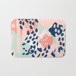Kala - abstract painting minimal coral mint navy color palette boho hipster decor nursery Bath Mat
