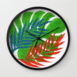 Tropical Palm Leaves and Monstera Leaf Wall Clock