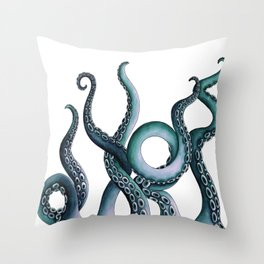 Kraken Teal Throw Pillow
