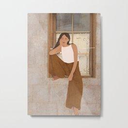 Girl sitting on the window Metal Print