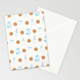 Milk and Cookies Pattern on Cream Stationery Cards