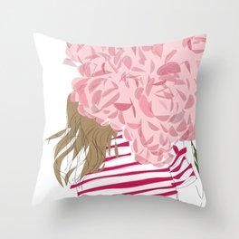 Pink Flower Red Stripe Girl Throw Pillow