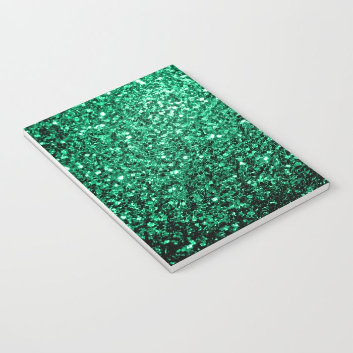Beautiful Emerald Green glitter sparkles Notebook