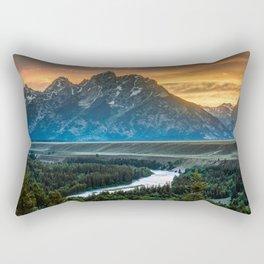 Sunset On Grand Teton And Snake River Rectangular Pillow