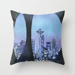 Watercolor painting of downtown Seattle, WA skyline with Space Needle as viewed through sculpture on Throw Pillow
