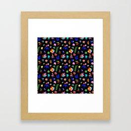 Groovy Prairie Bouquet in Black Framed Art Print