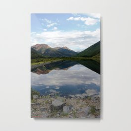 Reflection of the Red Mountains on Crystal Lake Metal Print