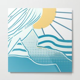 A Woman, The Sun And The Sea Metal Print