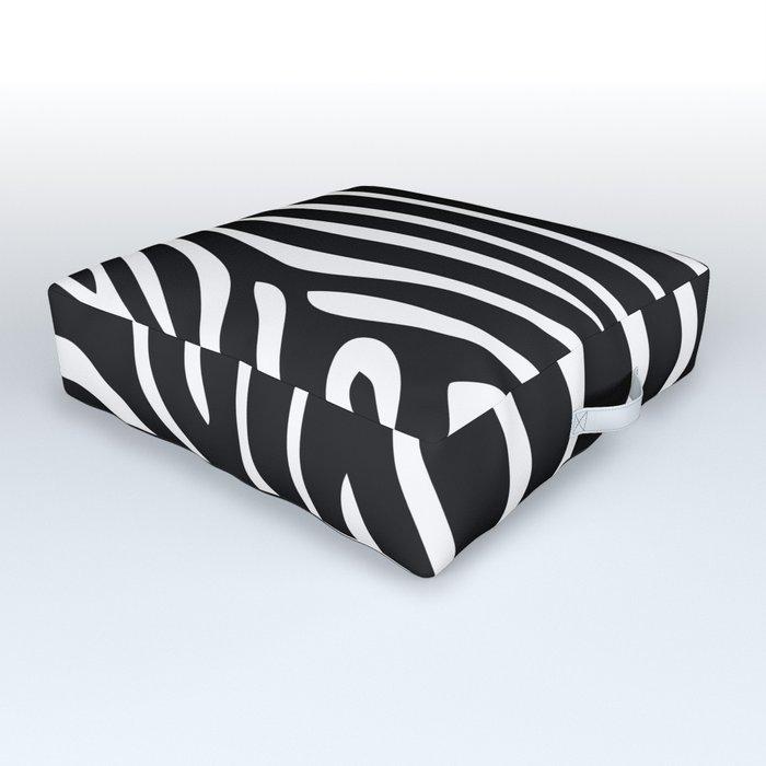 Modern abstract black white zebra animal print Outdoor Floor Cushion