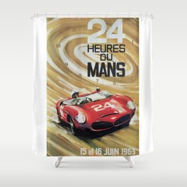 1963 Le Mans poster, Race poster, car poster, garage poster Shower Curtain