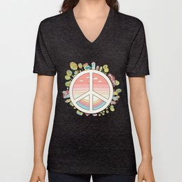 peaceful bright Pacific planet Unisex V-Neck