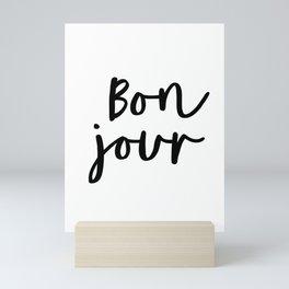 Bonjour black and white monochrome typography poster home wall decor bedroom minimalism Mini Art Print