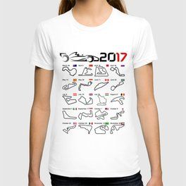 Calendar F1 2017 circuits white T-shirt