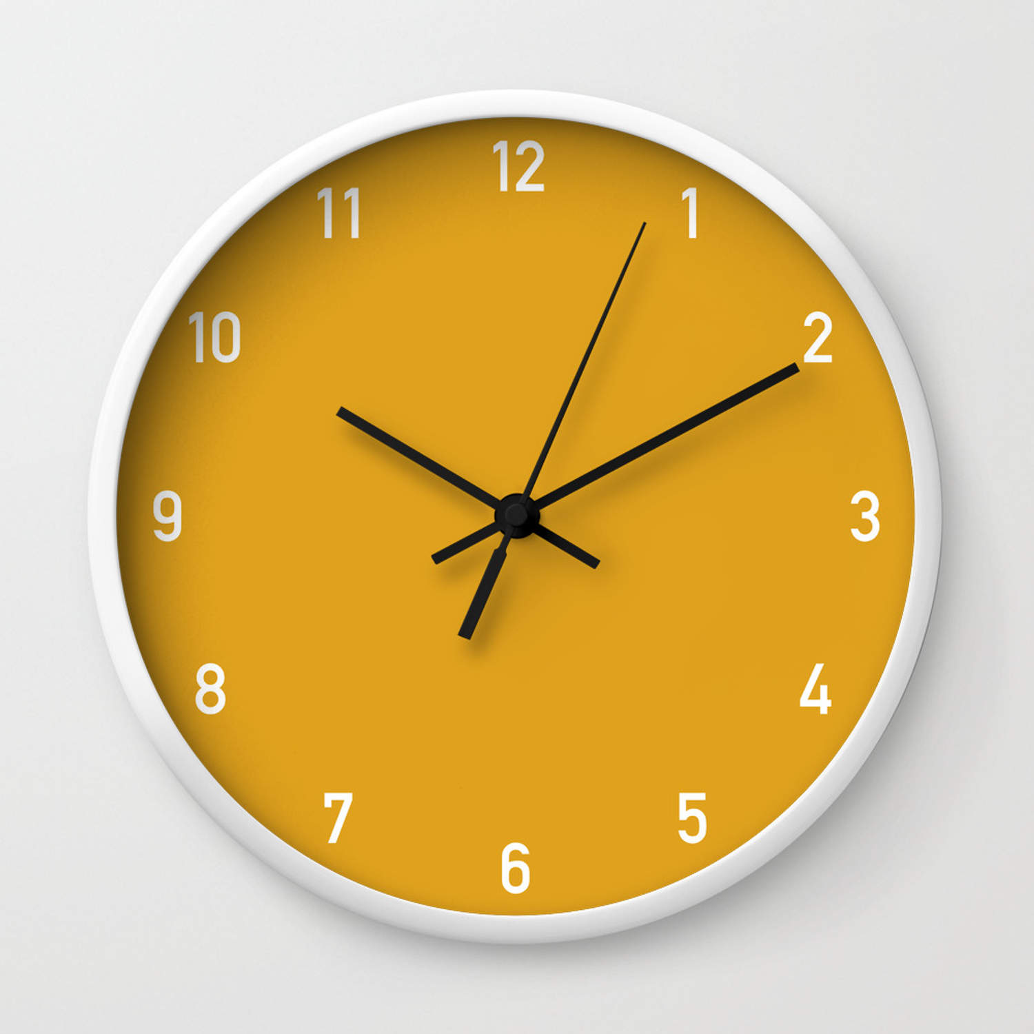 Numbers Clock Mustard Wall Clock By Colorandpatterns Society6