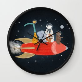 lets all go to the moon Wall Clock