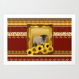 Frame Design yellow Sheep Art Print