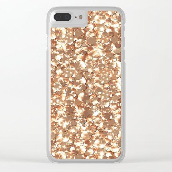 Golden confetti glitter sparkl Clear iPhone Case