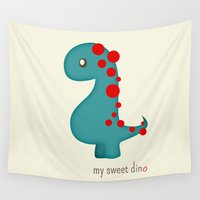 dino Wall Tapestries featuring Dino by Jane Mathieu