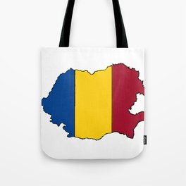 Romania Map with Romanian Flag Tote Bag