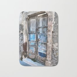 Old blue door Bath Mat